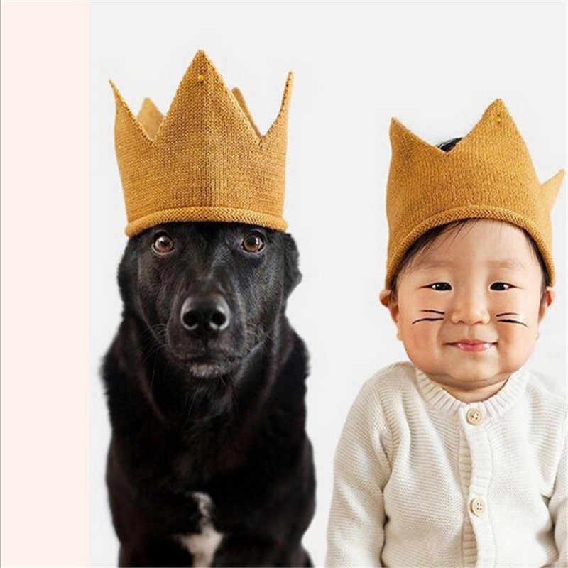 ใหม่ถัก crown shap baby beanies สีทึบ princes ชายหญิงหมวกลายหมวกเด็กแฟชั่นเด็ก headwear 0-2 ปี