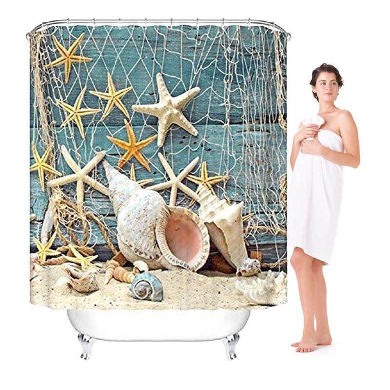 3D Printed Starfish Shower Curtain With 12 Hooks Rideau De Douche Bathroom Curtain Bath Curtain