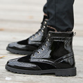 New Winter High Top Polished Patent PU Leather Men Oxfords Boots With Warm Fur Fashion Punching Carved Mens cotton-padded Shoes