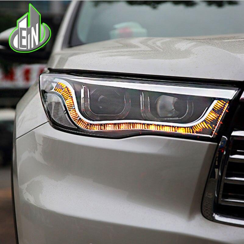 Car Styling Head Lamp For Toyota Highlander headlights 2015-2016 led headlight turn signal drl H7 hid Bi-Xenon Lens low beam