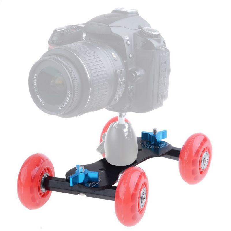 Prix pour DSLR Camion Skater Roue Table Top Dolly Compact Slider Kit Dslr Dolly Caméra De Voiture Pour Caméra Vidéo DSLR Accessoires