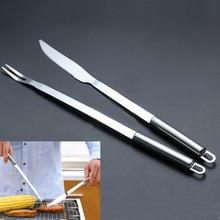2 шт./лот 32 см сталь круглая ручка барбекю инструменты для пикника стейк нож раздаточная вилка Кухня Мясо Говядины вилки и нож