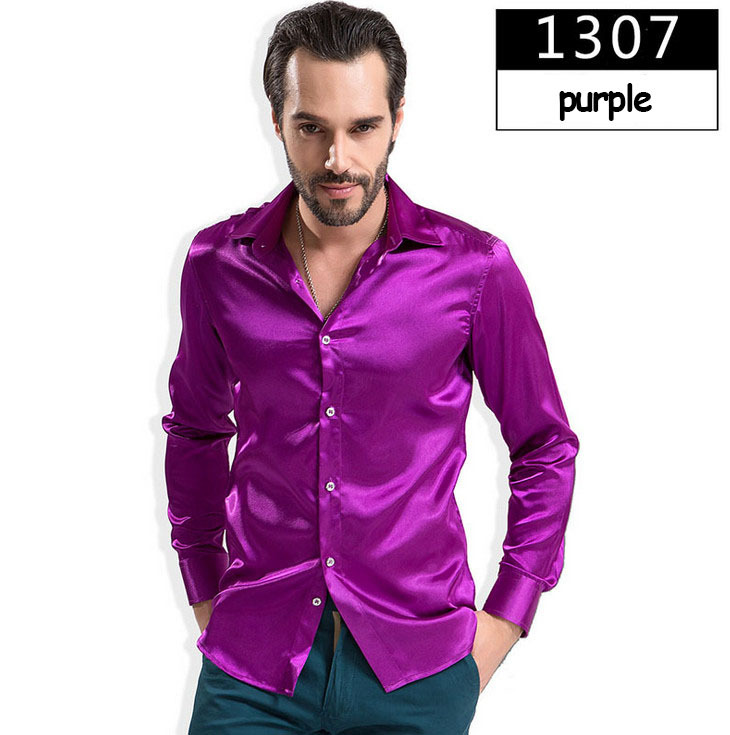 ZOEQO новая рубашка-смокинг для мужчин, 12 цветов, шелковое мужское однотонное платье с длинными рукавами, рубашка с запонками, мужские рубашки camisetas masculinas - Цвет: 1307 purple