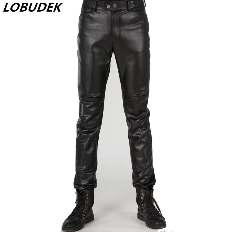 Black Solid Color Men Leather Pants Autumn Winter Long Pants Korean Style Male Casual Leather Trousers Singer Jazz Stage Costume