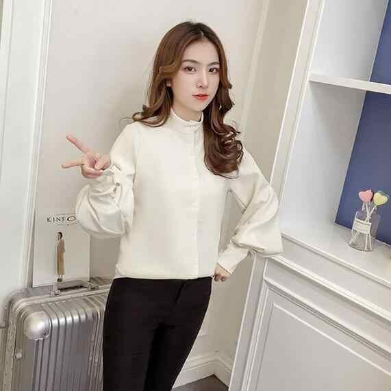 Женская блузка с рукавами-фонариками 2019, женские длинные хлопковые топы, женское винтажное негабаритное просторное с воротником-стойкой, пышная белая рубашка, Лидер продаж DC792
