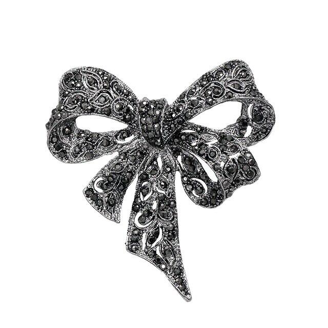 baiduqiandu Brand Black Color Rhinestone Bow Brooches for Women Large Bowknot Br