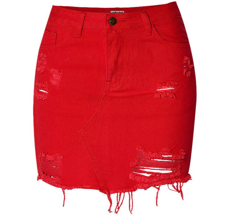 terrific value innovative design new cheap US $19.14 8% OFF|Sexy Red Jeans Mini Skirt Women High waist Tassel Hole  Denim Skirt Summer Casual Pencil Skirt Streetwear-in Skirts from Women's ...