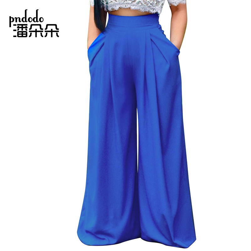 Pndodo 2018 New Women Summer Casual Loose   Wide     Leg     Pants   Female Solid Color Long Trousers Streetwear Elastic Waist   Pants