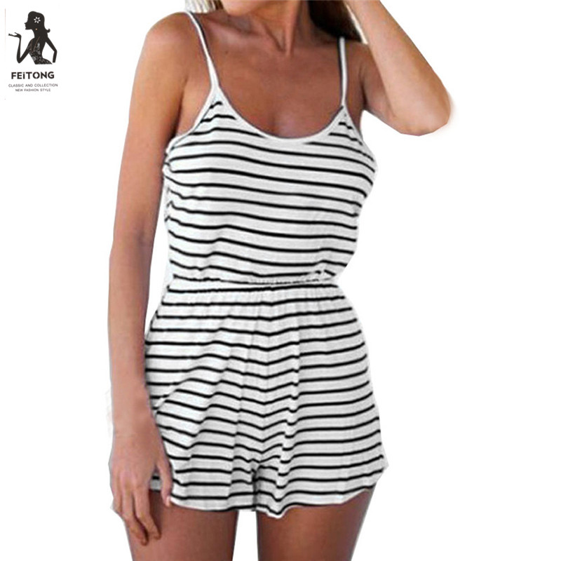 Feitong Sleeveless Summer Style Casual Playsuit Women Ladies Sexy Vertical Striped Backless Body Mujer Combishort Femme