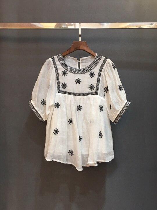 Vêtements De Broderie Manches Chemise Mode 226 Courtes Avec Perlée Femmes Nouveau 2019 Haut Gamme 1qUwY6A