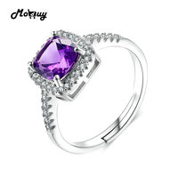MoBuy MBRI039 Cushion Natural Gemstone Amethyst Rings 925 Sterling Silver Jewelry White Gold Plated Engagement Wedding