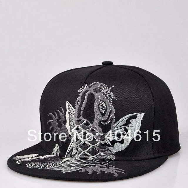 High quality hip-hop bboy FISH embroidery flat snapback caps women and men stage shown rock baseball caps
