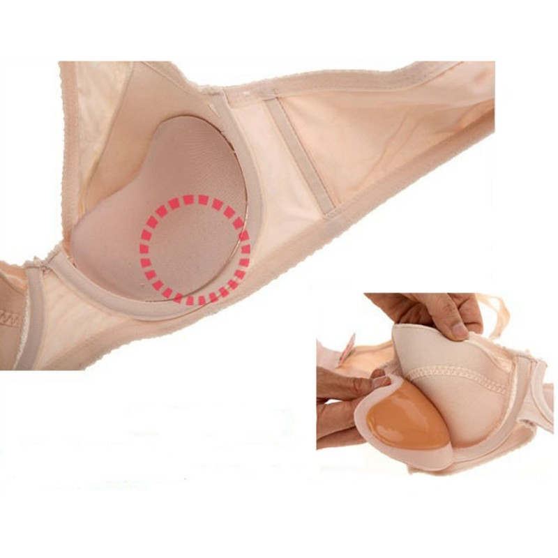 Silicone Form Breast Enhancer Booster w// Brown Nipple Bra Inserts Push Up Pad