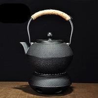 Japan Cast Iron Pot Tea Cooker Charcoal Stove Insulation Candles Alcohol Heating Kung Fu Tea Kettle Health Teapot 1200ml