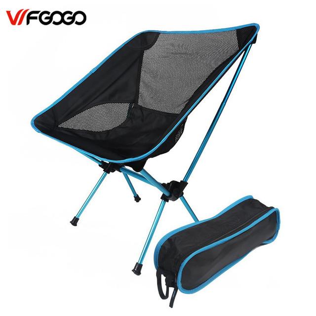 WFGOGO Ultraleve Dobrável Cadeira de Acampamento, Motociclismo Mochila Camping Pesca Ao Ar Livre Cadeiras de Eventos com Altura Ajustável