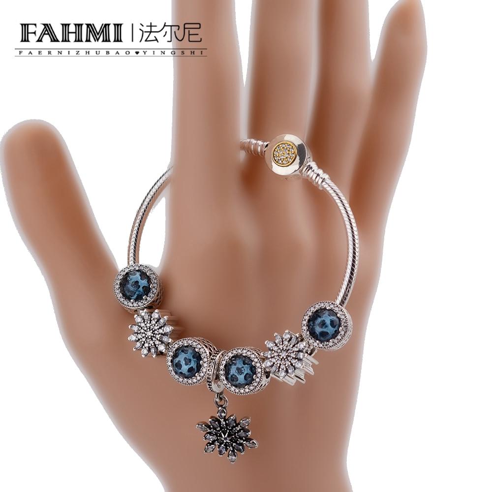 FAHMI Fashion Silver Women Friendship Charm Bracelets Bangles Snowflake Pendants Charms Bead fit European Pan Bracelets friendship bracelets