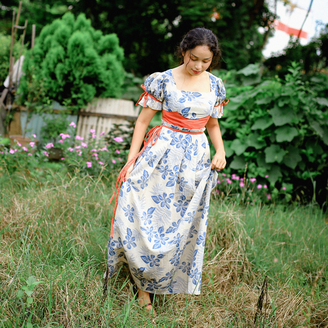 03e4f408c139 Jessica s Store Medieval Retro Pastoral Simple Style Puff Sleeve French  Floral Print Square Collar Cotton Linen Long Dress
