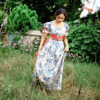 Summer Women Cotton Linen Floral Long Dress Medieval Retro Pastoral Vintage Short Sleeve French Style Maxi Dress vestido elbise