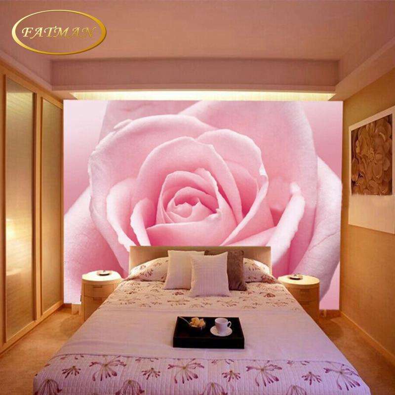 Custom 3D photo wallpaper romantic pink Rose wallpaper mural living ...
