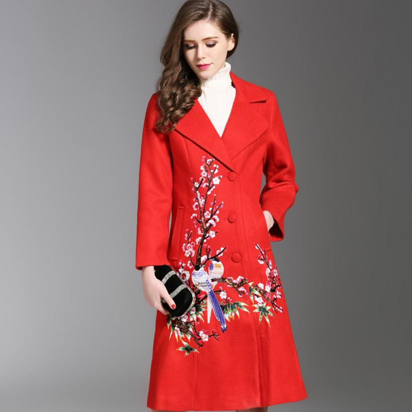 Autumn Winter Long Coat Embroidery Cashmere Trench Slim Woolen Coat Overcoat