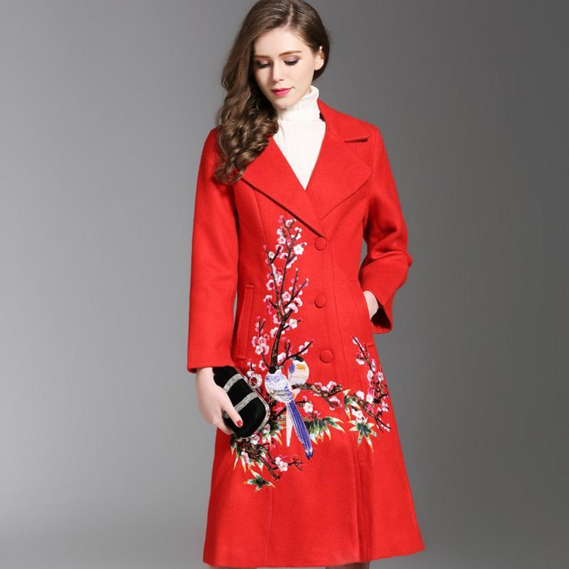 Autumn Winter Long Coat Embroidery Cashmere   Trench   Slim Woolen Coat Overcoat