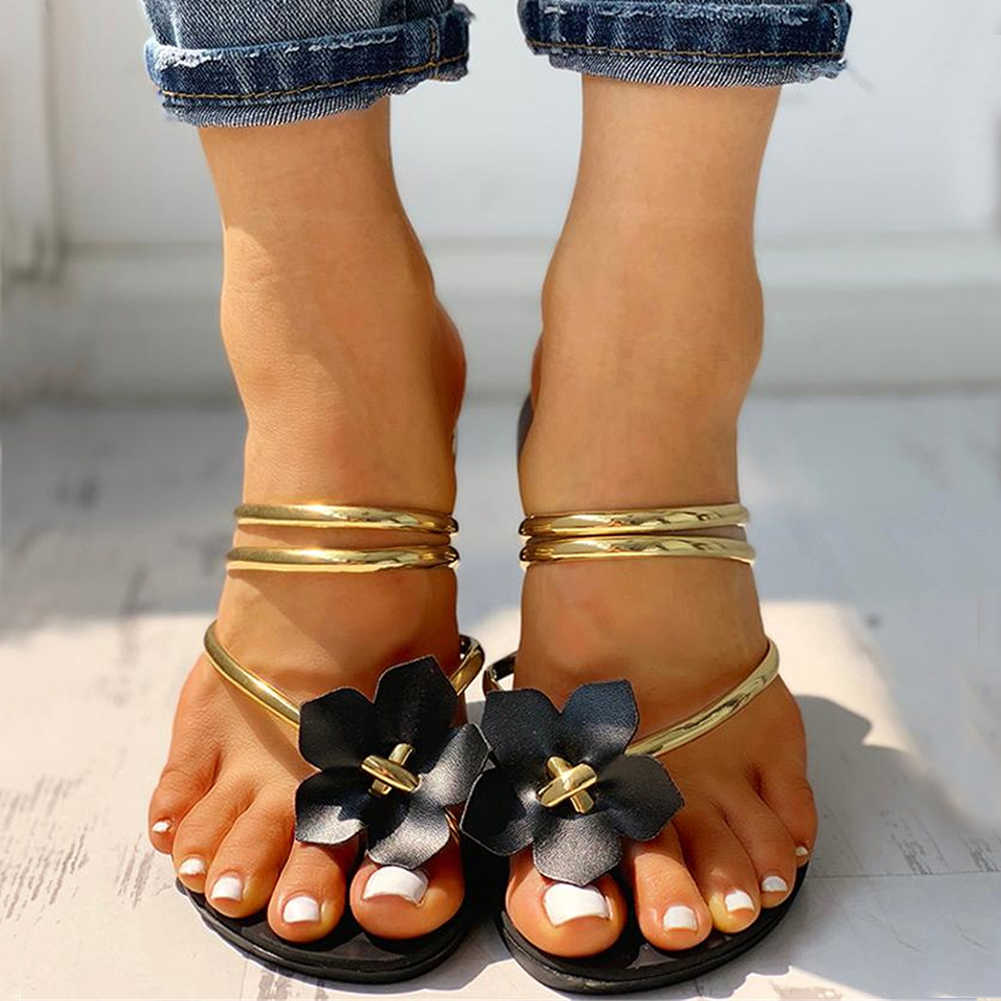 Eğlence çiçekler plaj tatil rahat düz yaz kadın ayakkabı kadın Flip flop kadın 2019 terlik ayakkabı