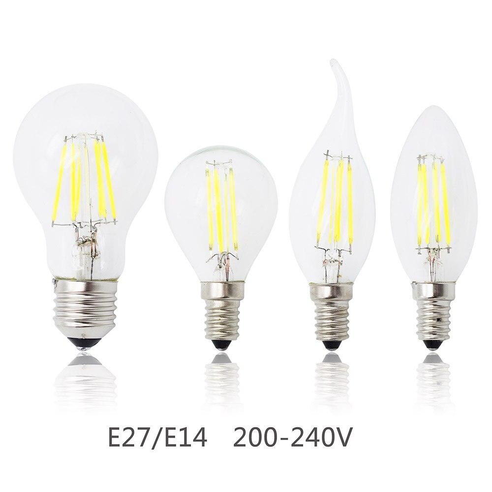 Lâmpada e27 e14, filamento de led 4 w 8 w 12 w 16 w vidro regulável edison 220 v substituir lustre de halogênio luz que economiza energia