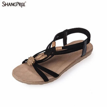 2017 Summer Fashion Women Beach Sandals String Bead Black Elastic Bands Flat Shoes women Sandalias Mujer for