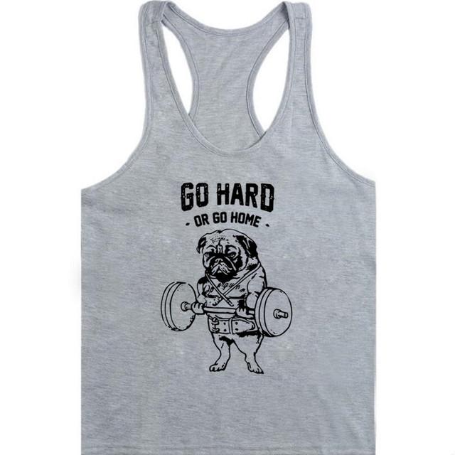 Go Hard or Go Home Men tank tops Frenchie printed men Vest Pug Squat fashion male singlets Do You Even Lift tank tops