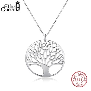 Effie Queen Real 925 Sterling Silver Women Necklaces Perfect Polished Exquisite Tree of Life Pendant Fashion Female Jewelry BN90