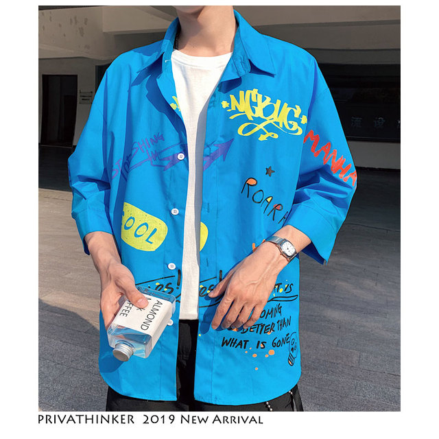 af03437ab Privathinker hombres Harajuku camisa 2019 hombre Hawaiano azul Streetwear  camisas tres Quater coreano moda talla grande ropa