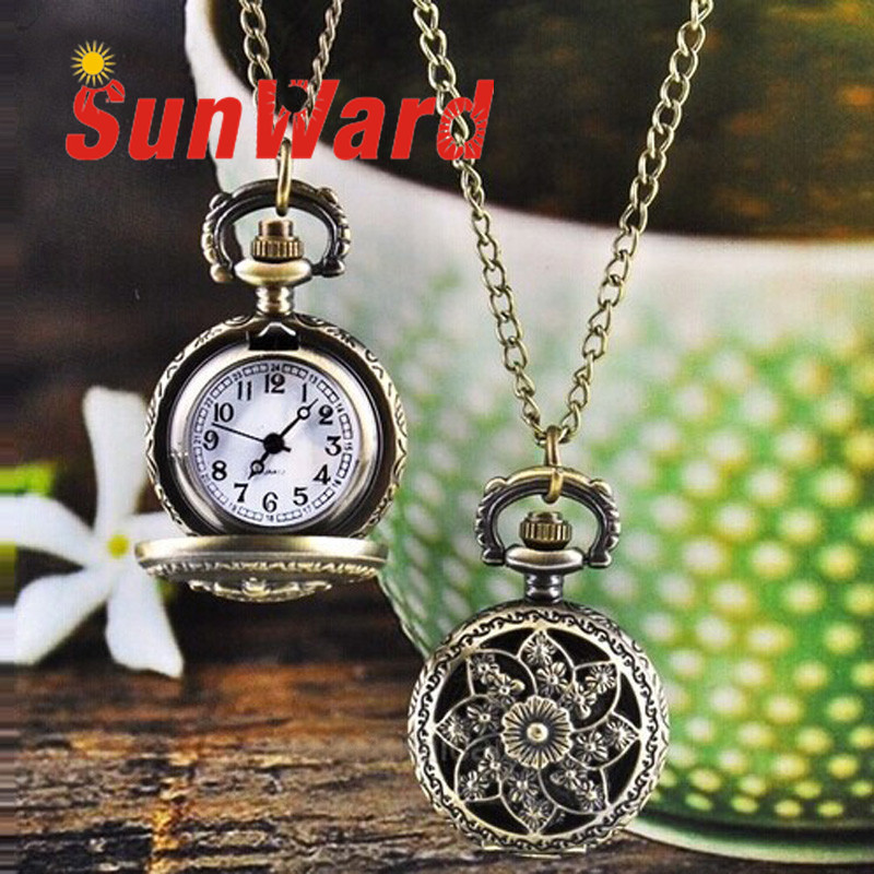 Women Watch Drop Shipping Reloj Mujeres Gift Hot Fashion Vintage Retro Bronze Quartz Pocket Pendant Chain Necklace June15 antique smooth black mini toy pocket watch men women retro pendant necklace quartz watch mini gift chain reloj de bolsillo