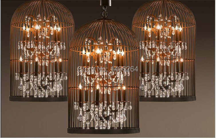 Edison Retro Style Wrought Iron Birdcage Crystal Luxurious Decoration Pendant lamp Cafe Bar Coffee Shop Hall Store Club Bedside vintage loft industrial edison flower glass ceiling lamp droplight pendant hotel hallway store club cafe beside coffee shop