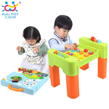 Free Shipping Early Education Toys Learning Baby Activity Table Baby Game Desk Learning Table Piano Toy with Light/Blocks/Tool