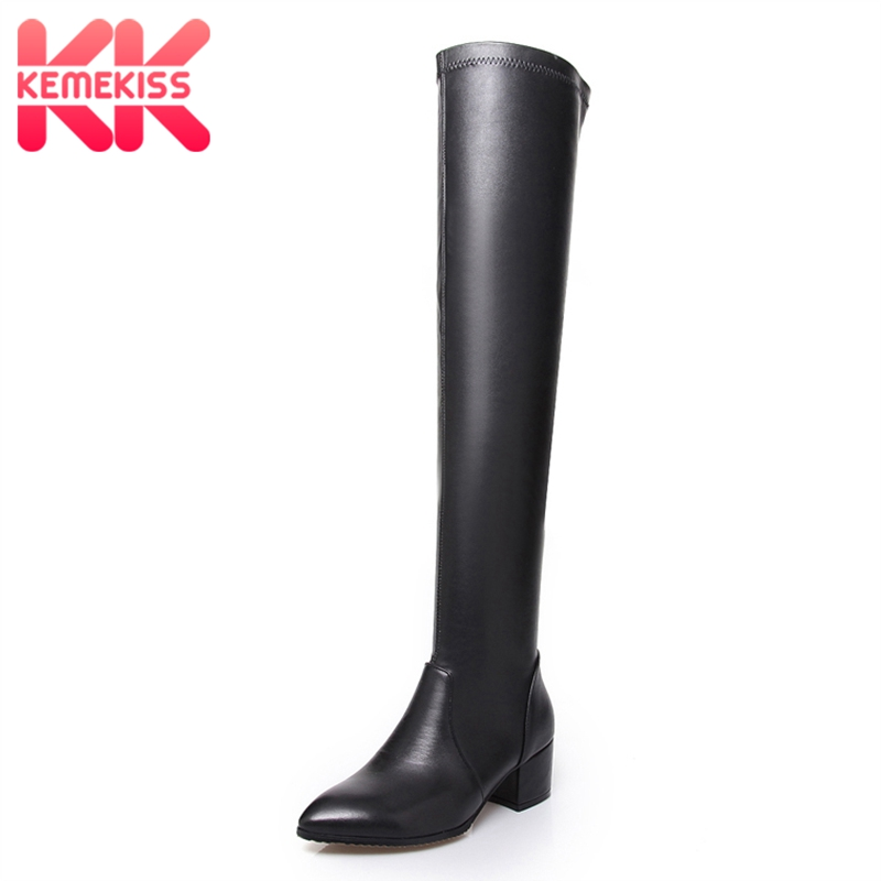 KemeKiss Women High Heels Boots Real Leather Winter Over Knee Boots Thick Heels Long Boots Woman Shoes Sexy Ladies Size 33-43 kemekiss size 33 43 ladies thick high heel shoes women ankle platform heeled pumps brand female sexy stylish heels footwears