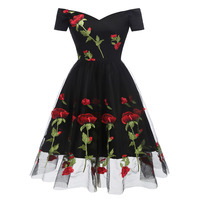 Vestidos Mujer 2019 New Embroidery Rose Flower Mesh Gauze Slash Neck A Line Women Dress Formal Evening Party Dresses Black/White