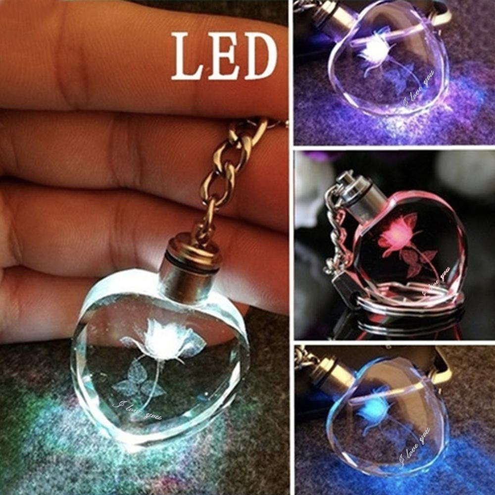 1Pc Square Romantic Heart Crystal Rose Flower Crystal LED Light Charm Keychain Square Key Chain Nice Small Gift For Wedding