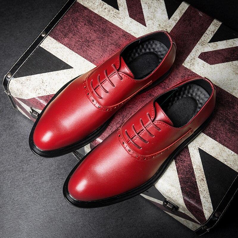 Para Casamento Negócios Alta Zapatos Genuíno Vestido Formal De Couro Hombre vermelho Oxfords amarelo Preto 2019 Qualidade Sapatos Homens W41XR1nPz