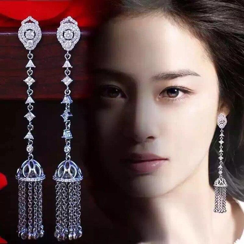 LXOEN Bohimian Cubic Zirconia Drop Earrings For Women Luxury Multi layer Tassel Silver color Long Earrings For Party Earings