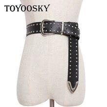 цена на TOYOOSKY Punk Black Western Cowboy PU Waist Belts for Jeans Fashion Rivets Pin Buckle Belt High Quality Belt for Men Female 2018