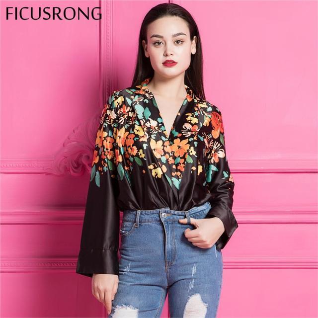 547f3c3f1be6 FICUSRONG 2018 New elegant long sleeve jumpsuit romper Deep v neck floral  print bodysuit women Sexy