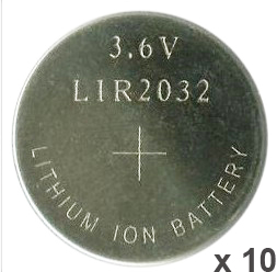 10PCS 3.6V LIR2032 lir 2032 lithium ion rechargeable battery 40mah Li-ion button coin cell replace for CR2032 CR 2032