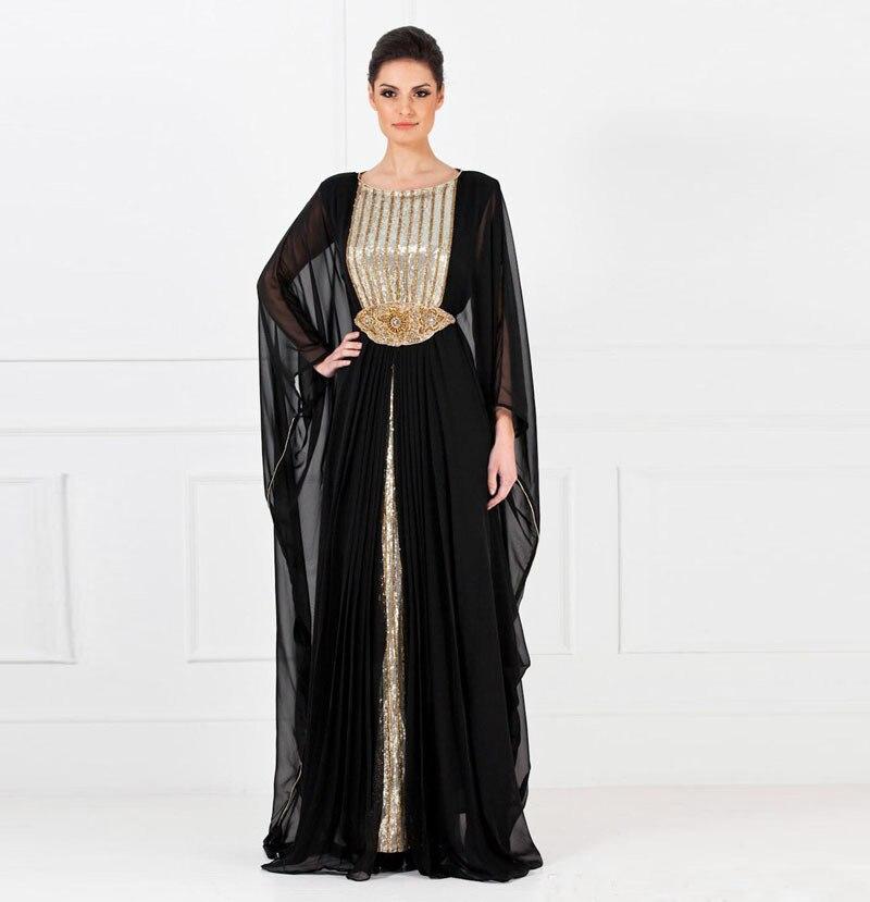 Modest Black Chiffon Sequin Beaded Dubai Kaftan Long Arabia Muslim Evening Dresses Women Formal Dress Vestido de Festa Sleeves-in Evening Dresses from Weddings & Events on Aliexpress.com | Alibaba Group