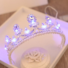 Corona de luz barroca con purpurina y perlas de imitación, Tiara de princesa reina, corona brillante para novia, fiesta, boda, accesorio de cabello para mujer