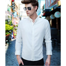 Men Shirts custom New hot sell Long sleeve lapel cotton blending Solid color Casual Slim Men Shirt single-breasted
