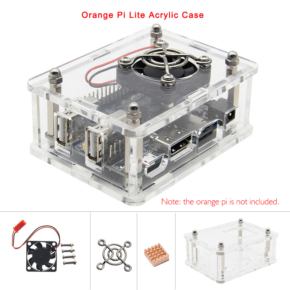 Orange Pi Lite Acrylic Case With Fan Copper Heatsink Kit, Transparent Protective Shell/ Enclosure For Orange Pi Lite