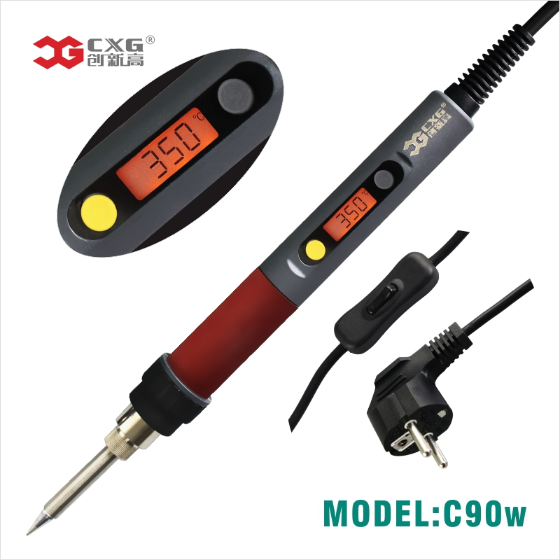 Electric Soldering iron 90W CXG LCD Adjustable Temperature EU plug Welding Solder Station Heat Pencil Soldering iron good quality 220v 90w cxg ds90s soldering iron electric heating welding iron station lcd display with 5pcs solder iron tips