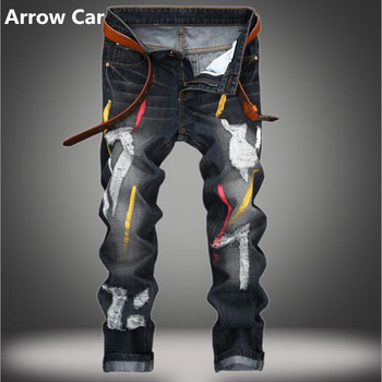 ARROW Car Paint Jeans Men Europe and America Hole Personality Retro Straight Men Pants Fashion Casual Ripped Jeans Men Plus Size