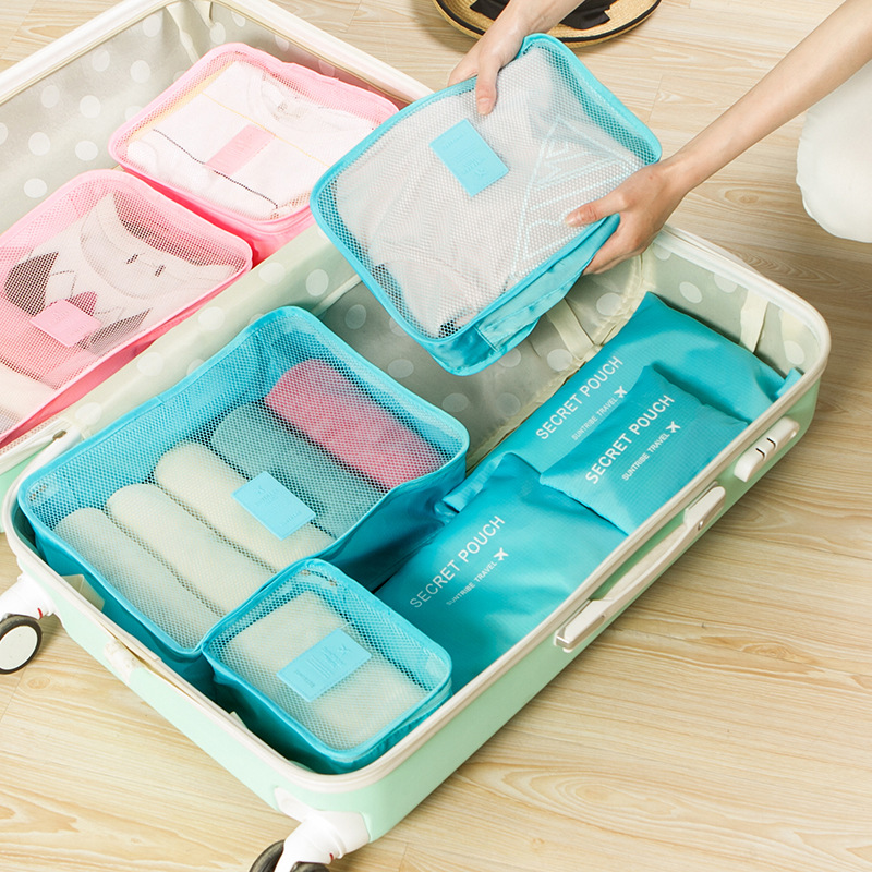 AMLETG Neceser 6 Pcs/set Travel Packing Organizers Waterproof Nylon Luggage Suitcase Pouch Clothes Finishing Package Accessories