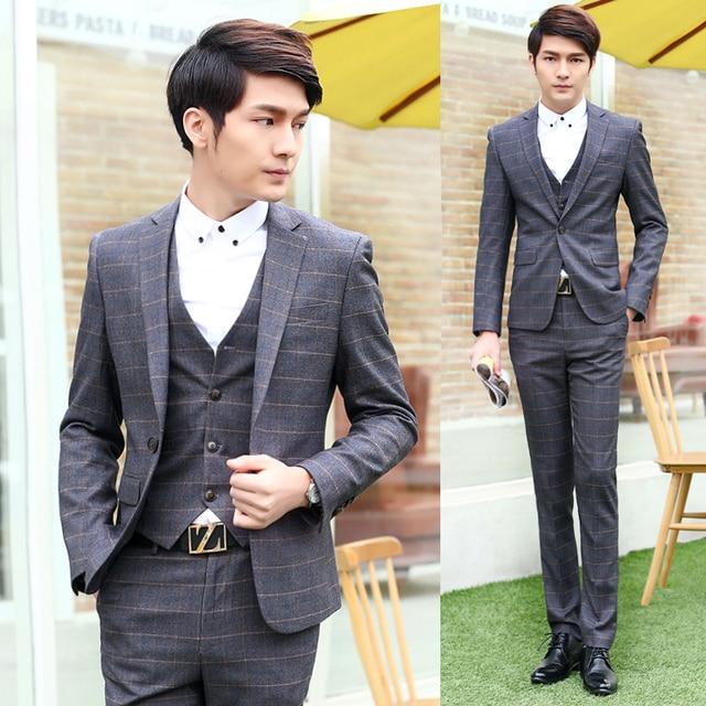 0bba5aa6a800 Wedding Suits For Men 3 Piece Formal Slim Fit Blazer Vest Classic Suits  Tuxedo Groom Dress
